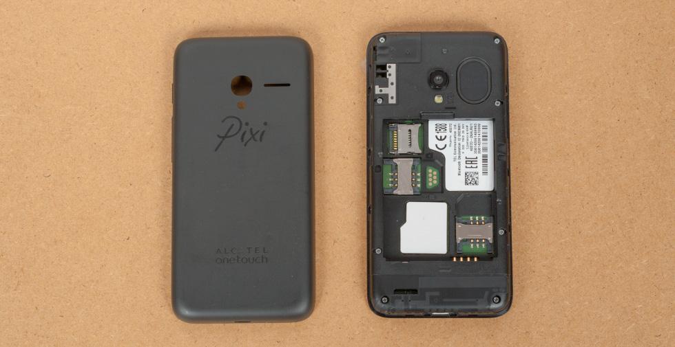 Крышку Alcatel PIXI 3 (4,5) можно снять, а батарею вытащить