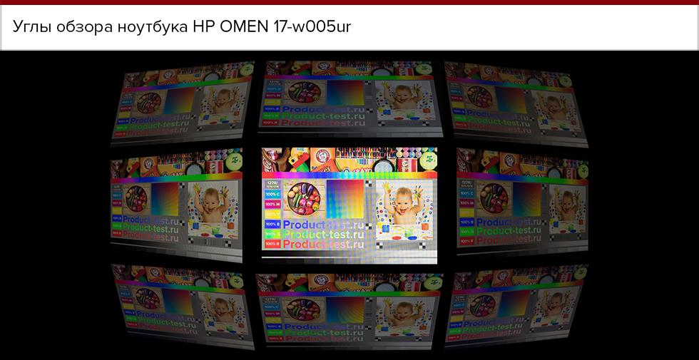 Углы обзора HP Omen 17.